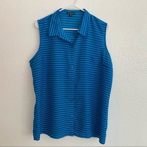 George Blue & Blue Stripes Collared Tank Top